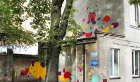 "Mural ""Motanki"" w ramach projektu Przytul Sztukę, ul. Franciszkańska, Łódź"
