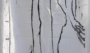 """Andrzej Nowicki """"Jego lewa ręka pod moją głową"""", z cyklu """"16 Pieśni nad Pieśniami"""", drzeworyt na tkaninie 45x185 cm, 2021"""
