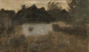 """Samuel Hirszenberg """"Lutomiersk o zmierzchu"""", obraz olejny, 1893 r."""