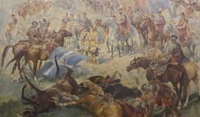 """""""Stefan Czarniecki - Bitwa pod Warką"""", 1944, olej na sklejce"""