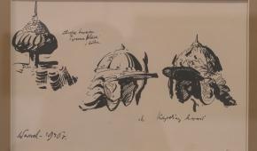 """""""Szyszaki, zbroje tureckie. Wawel"""", 1946, szkic tuszem na papierze"""