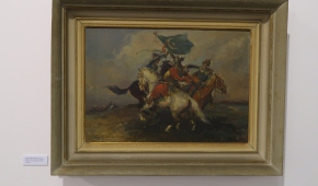 """""""Bitwa o turecki sztandar"""", 1962, olej na płótnie"""
