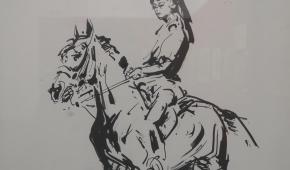 """""""Dziewczyna na koniu"""", 1963, tusz na papierze (fragment)"""