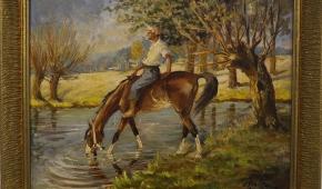 """""""U wodopoju"""", 1943, olej na desce"""