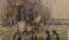 """""""Przed polowaniem z psami"""", 1977, akwarela"""