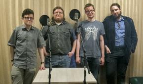Od lewej: Maciej Sztąberek, Konrad Suprun, Michał Grzelak i Hubert Tymiński - część zespołu Sounsitive Studio