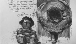 """""""Studium do COVID-19 4"""", 2020, ołówek na papierze, 21x29,5 cm"""