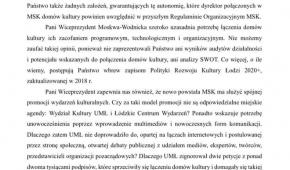 Odpowiedź Stowarzyszenia Unia Literacka na pismo wiceprezydent M. Moskwy-Wodnickiej. Fot. jw.