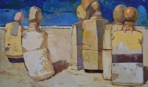 """""""Sześć figur"""", 2017, olej na płótnie, 100x150 cm"""